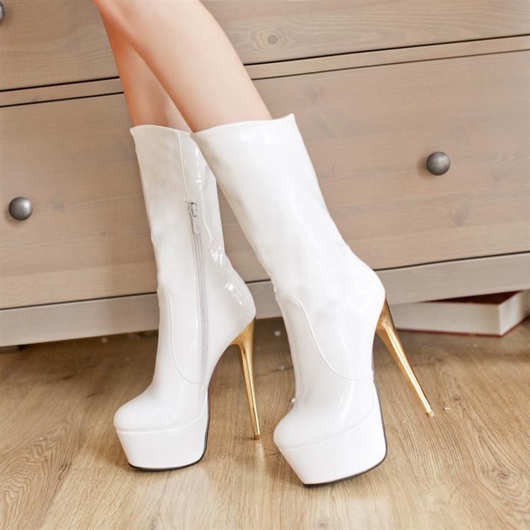 欧美款16CM超高跟靴细跟靴黑色超高跟鞋白色-靴 高跟 高跟 高跟鞋