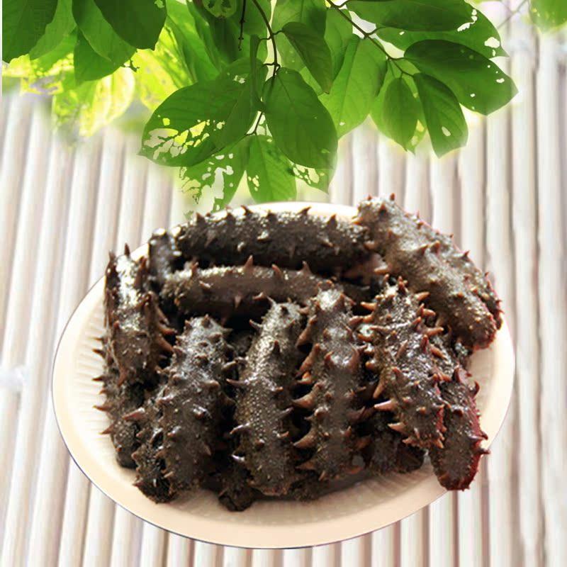 野生盐渍黑米大连家庭半干海参40-50头海参装海参泡一夜后的水图片