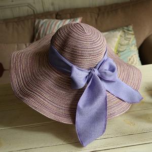 韩曲堂女帽 夏天优质棉线遮阳防晒帽蝴蝶结草帽大檐可折叠沙滩帽