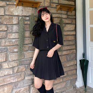 【全糖小欧】翻领半袖短款衬衫女黑色高腰半身裙遮肚显瘦两件套潮