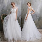 优罗莎原创甜美森系包肩蕾丝婚纱新娘户外草坪婚礼纱旅拍轻纱