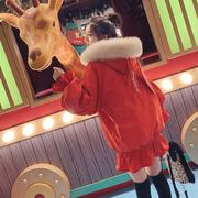 兔耳朵可爱连帽网红色工装棉服女2018中长大毛领加厚冬季外套