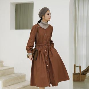叙旧简约纯棉V领长袖连衣裙中长裙收腰显瘦 九月之恋 Q6008
