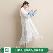广林 2018原创夏季宽松显瘦大码复古女装长款立领雪纺风衣长衫