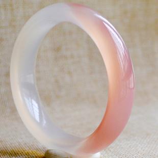 粉色玛瑙手镯女款镯子纯天然巴西原色甜美少女士冰种冰透玉髓