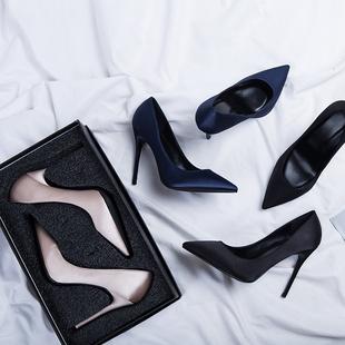 高跟鞋女黑色礼仪职业ol工作鞋尖头细跟绸缎2018真皮春秋单鞋