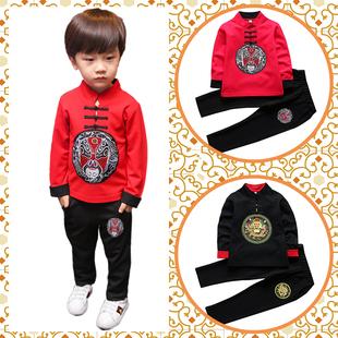 亲子装唐装男童民族风古装大童女童汉服儿童中国风复古秋冬套装