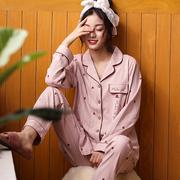 睡衣女春秋纯棉长袖可外穿全棉简约开衫时尚家居服套装夏