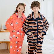 冬季儿童法兰绒睡衣加厚夹棉珊瑚绒男童女童中大童宝宝家居服套装