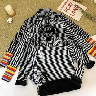 高领条纹t恤女长袖宽松秋冬季上衣学生百搭加绒打底衫女