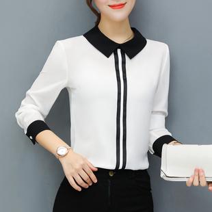 漫娜儿秋季上衣女装2018时尚显瘦韩范雪纺衬衫长袖大码白衬衣