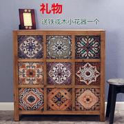 实木做旧家具欧式地中海田园美式乡村风格复古9斗柜子玄关装饰柜