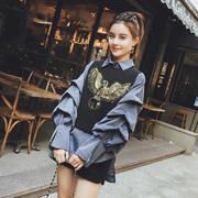 欧洲站2018秋装女欧货潮时尚洋气长袖衬衫背心两件套时髦套装