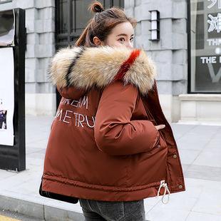 2018冬装羽绒棉服女士短款加厚棉衣宽松大码连帽大毛领短外套12