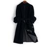 优雅简约黑大气显瘦貂绒系带收腰大衣外套女装w