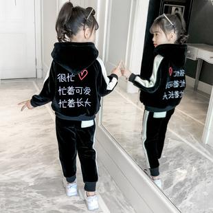女童金丝绒冬套装2018时髦洋气时尚2019春装童装小孩衣服