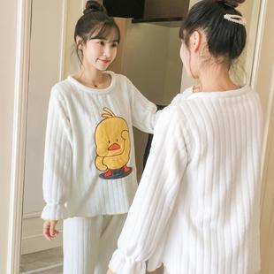 秋冬珊瑚绒睡衣女冬天加厚保暖法兰绒甜美可爱卡通家居服套装