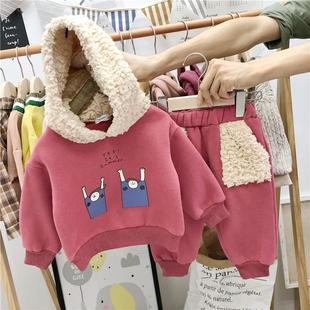 宝宝加绒卫衣卫裤套装1-2-3岁童装婴儿冬装女童ins小童两件套