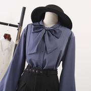蝴蝶结加绒衬衫长袖2019春装女装灯笼袖上衣泡泡袖雪纺白衬衣