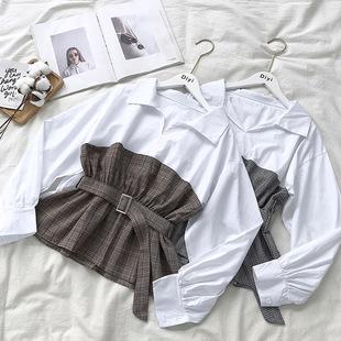 2018秋装时尚翻领格子拼接假两件收腰系带长袖衬衫上衣女