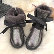 2018冬季真皮短靴羊皮毛一体系带雪地靴加厚中筒蝴蝶结女靴子