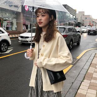 春秋女装2019气质纯色单排扣翻领针织开衫网红毛衣外套女