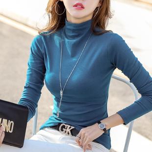 半高领打底衫女长袖t恤2018秋冬薄款纯棉紧身咖啡色显瘦上衣