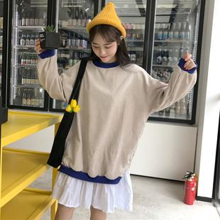 女2018秋装学生假两件长袖连衣裙子时尚清新荷叶边卫衣裙