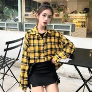 衬衣2018黄红色格子衬衫外套女秋原宿polo衫女可爱日系韩上衣