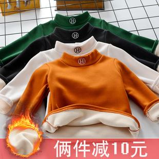 秋冬儿童高领弹力打底衫秋衣男女童宝宝加绒加厚T恤保暖长袖上衣