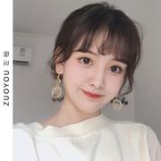 复古少女心金箔亚克力耳环女韩国气质长款个性纯银耳坠耳饰R014