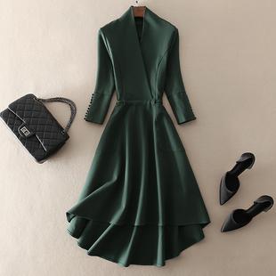 中长款绿色大摆七分袖连衣裙欧美大牌2018秋冬季气质女装