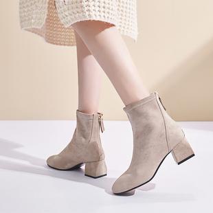 鞋爱love shoes秋冬季短靴女粗跟ins马丁靴方头中跟百搭瘦瘦靴子