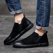 高帮鞋男秋季男鞋真皮懒人潮鞋时尚鞋磨砂皮鞋套筒