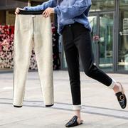 加绒裤女秋冬高腰工装裤宽松外穿萝卜裤加厚九分哈伦裤女西裤