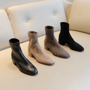 粗跟短靴弹力中跟瘦瘦靴2018秋冬季袜靴真皮绒马丁靴网红女靴子潮