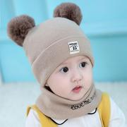 秋冬男童女12个月婴儿帽子围巾3套装10冬季1岁宝宝6潮8冬天2小孩0