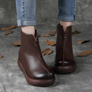 棉鞋女冬复古真皮短靴女坡跟加绒厚底民族风羊毛靴皮毛一体雪地靴