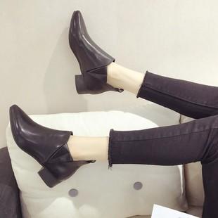马丁靴女2018秋季英风尖头粗跟切西靴百搭短筒靴子女