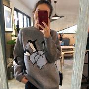2018秋冬女装宽松企鹅提花套头网红针织衫毛衣上衣外套女
