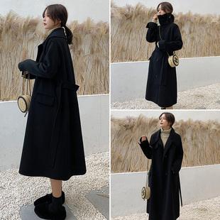 2018流行大衣女冬过膝中长款宽松加厚呢子赫本风黑色毛呢外套