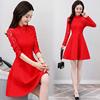 红色裙子女秋冬旗袍式连衣裙2019女装蕾丝长袖气质打底裙