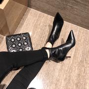 2018春秋季小短靴瘦瘦弹力裸靴子女尖头细跟黑色真皮高跟鞋冬
