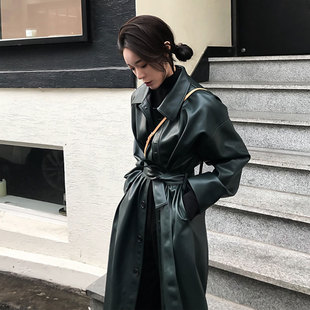 帅气超酷个性长款皮衣女宽松显瘦系带PU皮风衣外套2019春秋装