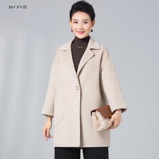 双面羊毛呢大衣中老年女装中长款中年秋装无羊绒妈妈冬装毛呢外套