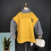 2018秋冬原宿bf毛线袖拼接加绒套头卫衣女宽松加厚假两件外套