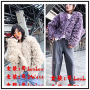 欧洲站2018秋冬欧货女装 潮韩米色紫色卷毛宽松保暖短外套