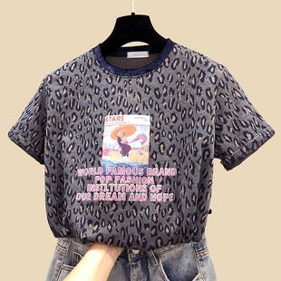 2019春季女装豹纹短袖T恤女短款半袖打底衫洋气上衣内搭