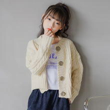 女童洋气毛衣2021秋冬中大童麻花粗毛线外套针织开衫短款上衣童装