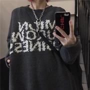 秋冬毛衣女韩版ins复古字母毛线上衣宽松bf套头慵懒针织衫潮